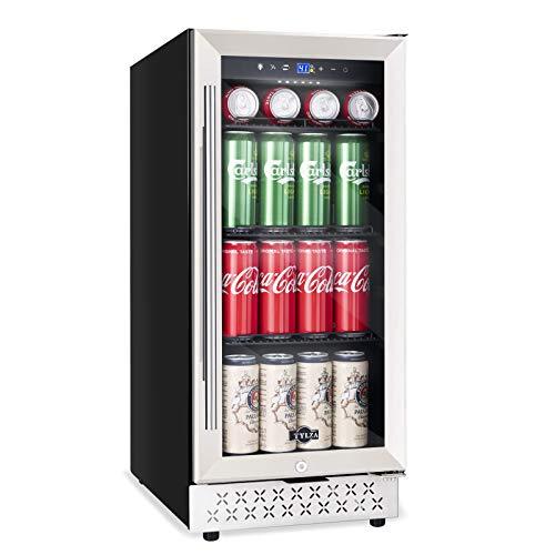 15 Inch Beverage Refrigerator Cooler Under Counter 130 Can Beverage Fridge Built-in or Freestanding with Glass Door for Soda Beer Wine or Water 37-64℉