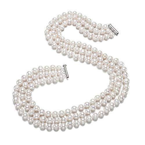 TreasureBay Halskette mit Süßwasserperlen, elegant, klassisch, 9–10 mm, Weiß, dreireihig