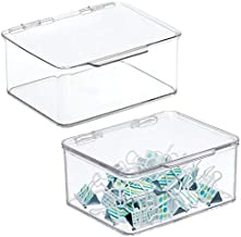 mDesign Small Mini Plastic Stackable Home, Office Supplies Storage Organizer Box with Attached Hinged Lid - Holder Bin for Note Pads, Gel Pens, Staples, Dry Erase Markers, Tape - 2 Pack - Clear