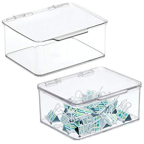 mDesign Juego de 2 organizadores de escritorio – Organizador de oficina apilable de plástico sin BPA – Caja de almacenamiento pequeña con tapa para lápices, gomas y demás material – transparente