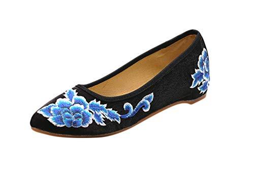 Liveinu Zapatos de Mujer con Cuña Cordón Sandalias Bordados Retro Mary Janes Lona Zapatos Comodos Fiesta Baile Qipao Zapatos de Tela Bordados de Flores Zapatillas de Casa 37 EU Negro