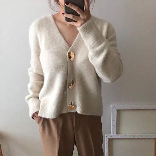 GDCAKMI Golden glänzende Knöpfe warme und Elegante Herbst und Winter Damen Strickjacke