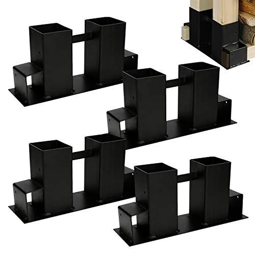 Hengda Holzstapelhilfe 4 Stück,Stabile Holz Stapelhilfe,Einfach zu installieren Brennholz Stapelhilfe,Holzstapelhalter,Kaminholz,Gestell Holz (schwarz)