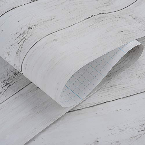 壁紙厚手Harmnhome壁紙シールはがせるリメイクシートカッティングシート木目ふすま紙アンティーホワイト45cmX10m………