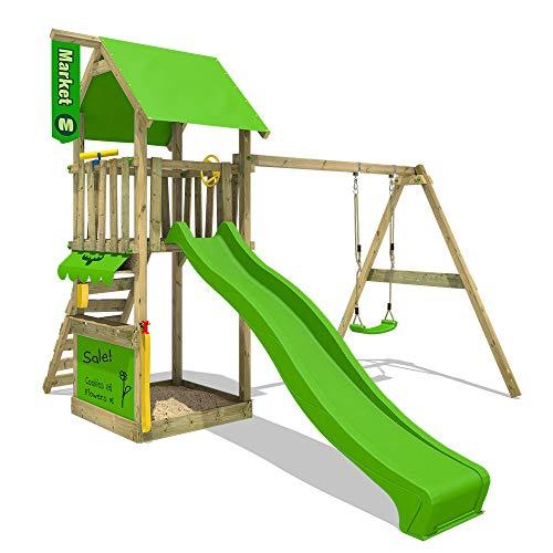 FATMOOSE, MagicMarket Master XXL, speeltoren, klimtoren met schommel, boomhuis, hout, appelgroene glijbaan