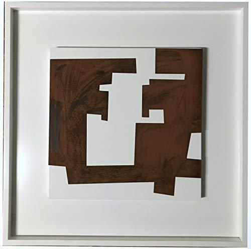 BEUFIRST Esculturas - Cuadros de diseño contemporáneo, realizados artesanalmente, 80x80 cms. Elaborados en Acero corten sobre Bastidor de Madera lacada en Color Blanco Alto Brillo. (C4)