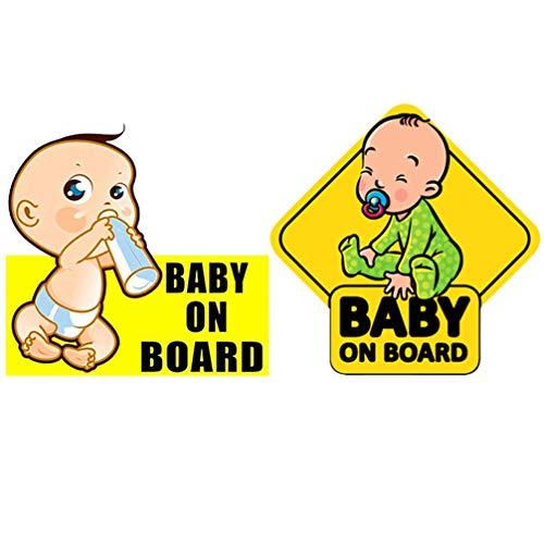 Wakauto 2Pcs Baby on Board Sticker Sign Impermeable Cars Baby Safety Sign Calcomanía Reflectante Mujer Embarazada Calcomanía para Auto Adhesivo Decorativo para Auto