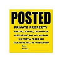 Posted Private Property No Trespassing Tyvek Sign   高耐久   耐久性   耐候性   イエローとブラック   11インチ x 11インチ - 50サイン。
