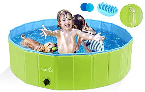 Pecute Hundepool Schwimmbad Für Hunde und Katzen(120 * 30 cm),Swimmingpool Hund Planschbecken Hundebadewanne Faltbarer Pool mit PVC-rutschfest Verschleißfest Für Kinder und Hund Katze L Grün