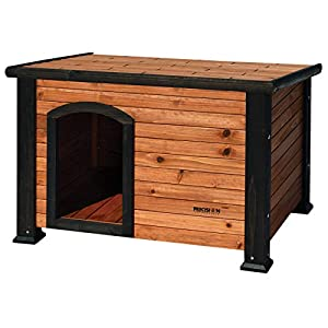 Petmate Precision Pet Weather-Resistant Log Cabin Dog House with Adjustable Feet, Natural Wood, Small