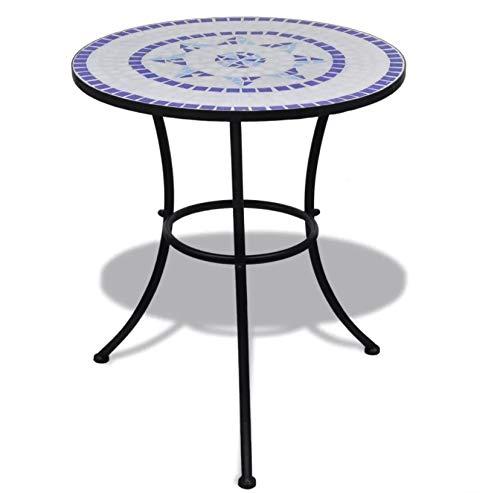 Zerone - Mesa redonda de jardín para patio, patio, patio, cafetería, bistrot, piscina, color azul y blanco