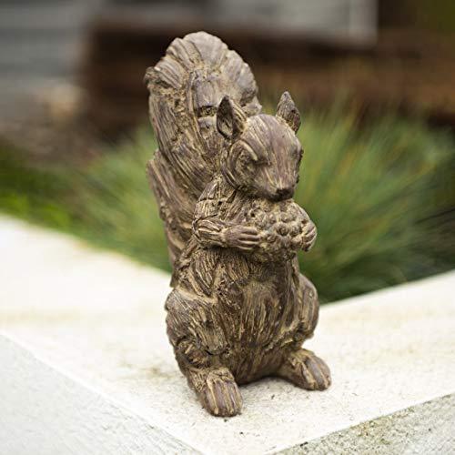 garden mile® rustikale Holz-Optik Eichhörnchen Gartenornamente im Freien Terrasse und Blumenbeet, dekorative Statuen - Waldkreatur Teichdekorationen - Treibholz-Skulpturen