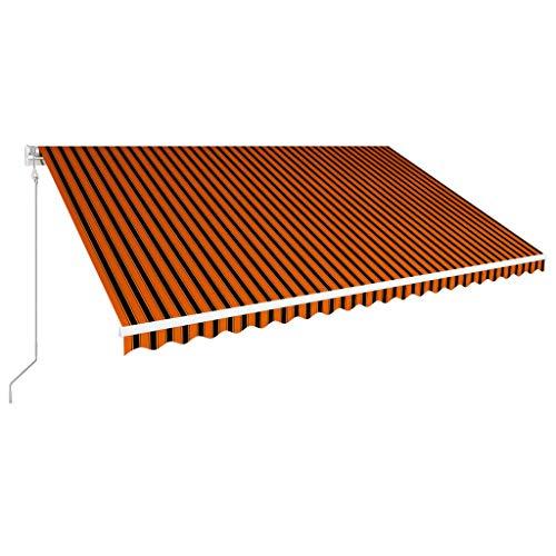 vidaXL Markise Einziehbar Automatisch Gelenkarmmarkise Sonnenmarkise Balkonmarkise Sonnenschutz Sichtschutz Terrasse Balkon 500x300cm Orange Braun