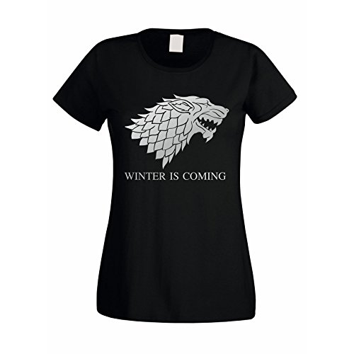Damen T-Shirt Game of Thrones Winter is Coming Schattenwolf Wolf, XXL, schwarz-Silber