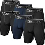 HOPLYNN Short de compression long pour homme - Collant de sport à séchage rapide, Noir 2 Bleu, XXL