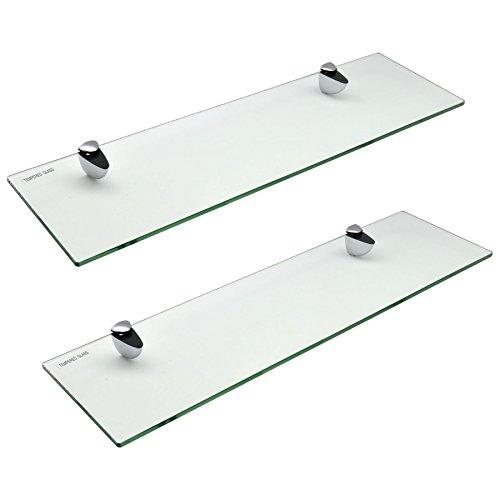 Estante para Cuarto de baño - Cristal Templado con herrajes cromados - 50cm - Pack de 2