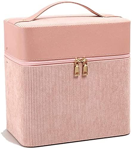 Maletín de maquillaje, maletín de almacenamiento, bolsa de cosméticos portátil, bolsa de almacenamiento y de lavado, rosa,