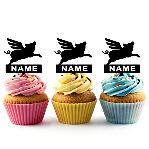 TA0367 Flying Pig Silhouette Party Wedding Birthday Acrylic Cupcake Toppers Decor 10 pcs with Personalized Your Name