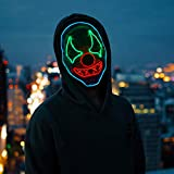 Halloween Scary Led Mask, Light Up Evil Clown Purge Masks Changeable Party for Frightening Festival Cosplay Costume Night Glow El Parties Decoration (Rubber Clown)