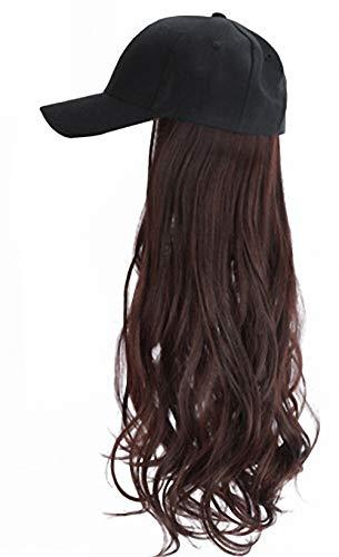 Unbekannt Perücke Weibliche Mütze Perücke Netz Lange Lockige Haare Natürliche Big Wave Baseball Hut Perücke Alle 60cm Schwarze Baseballkappe - Dunkelbraun