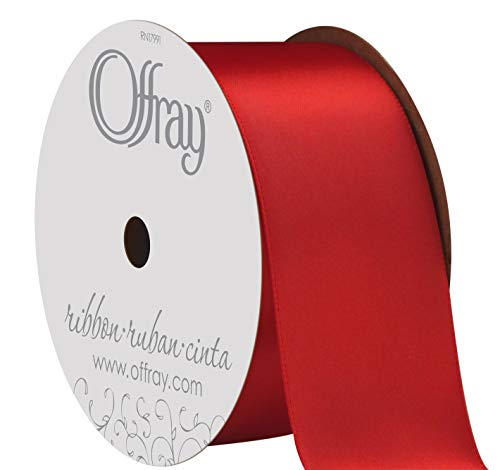 Berwick Offray 284933 1.5' Wide Double Face Satin Ribbon, Red, 3 Yds