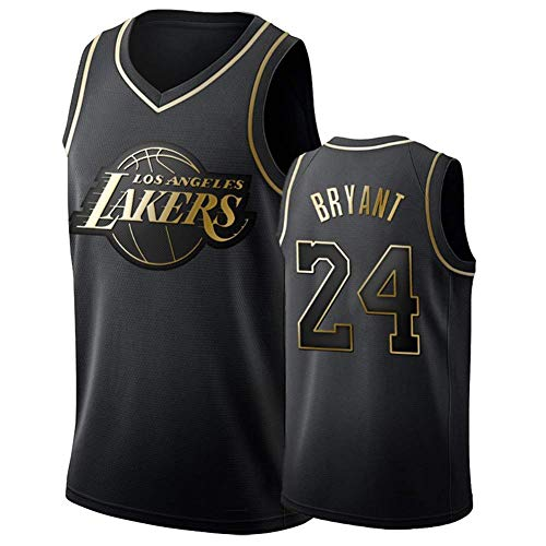 DCE Herren Trikot Kobe Bryant NO. 24 Los Angeles Lakers Sommer Trikots Basketball Uniform Stickerei Tops Basketball Anzug Trikots Schwarzgold-Trikot (Schwarz & Gold, M(48))
