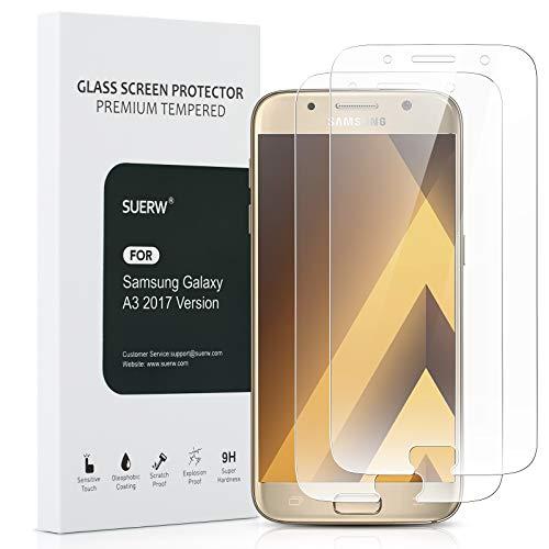 Samsung Galaxy A3 2017 Panzerglasfolie - 3 Stück, SUERW Schutzfolie Kompatibel mit Samsung Galaxy A3 2017 [0,33 mm HD Ultra,9H Festigkeitgrad,Anti-Öl,Anti-Bläschen,Anti-Fingerabdruck]