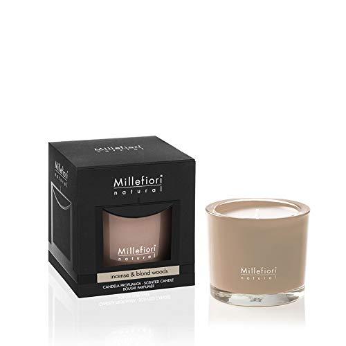 Millefiori Natural Vela perfumada Marrón (Incienso & Blond Woods), 180 g