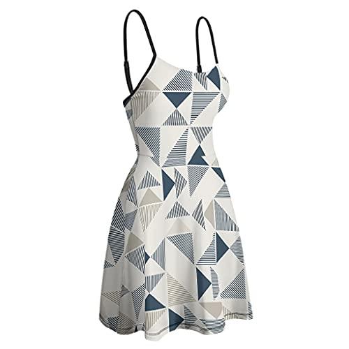 OwlOwlfan Vestido corto suave de la honda de las mujeres geométricas para la playa de la