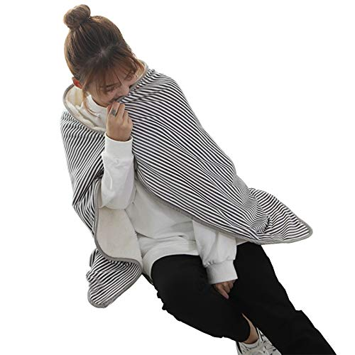 Heat Blanket USB Heated Shawl, Winter Body Hand Foot Warm Electric Blanket, Portable Heated Blanket Throw, with Slots, for Home Office Bed Sofa Grey Stripes