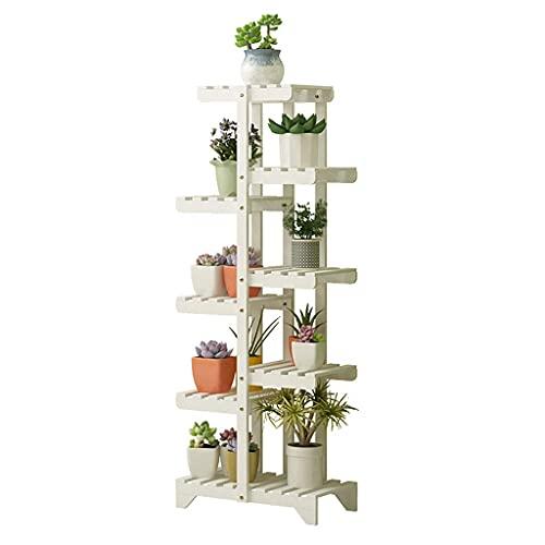 Sywlwxkq Bloemenrek met 8 lagen, houten plantenstandaard voor binnen en buiten, bonsai, display-plank, opbergrekken, multifunctionele planken met uitgehold rek