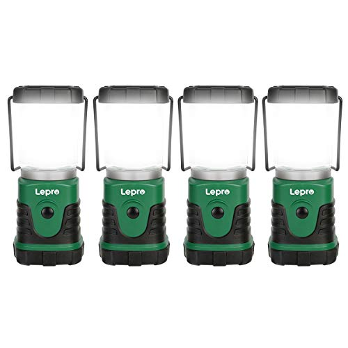Lepro Linterna de Camping LED, Lámpara de Camping 350 LM (no incluida batería), Farol Camping Regulable 4 Modo de iluminación, Luz de Emergencia LED para Camping, Senderismo, Pesca, etc, Pack of 4