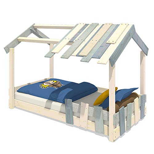 WICKEY Lit enfant 'CrAzY Beach' Lit simple Lit cabane en Bois 90x200cm