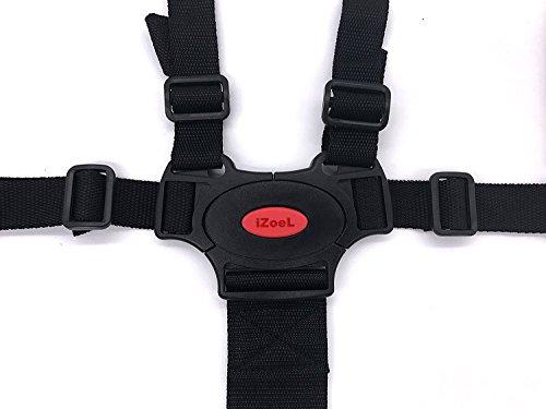 iZoeL 5 Punti Cintura Sicurezza Bambini, Nero regolabile cintura 2 Pads Spalla, Per Carrozzina, Passeggino
