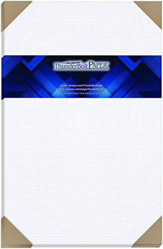 15 White Linen 80# Cover Paper Sheets - 11X17 Inches Tabloid|Ledger|Booklet Size - 80 lb/Pound Card Weight - Fine Linen Textured Finish - Quality Cardstock