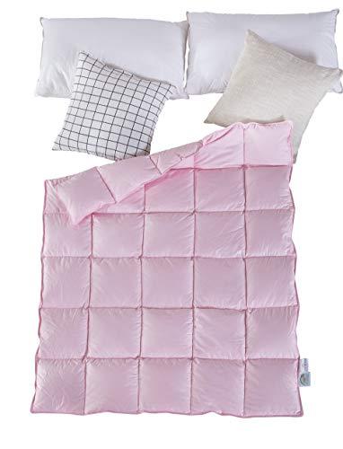 Lightweight Winter Baby/Toddler White Goose Down Comforter Duvet Insert for Crib Bedding 100% Cotton Shell Down Proof (Pink, L)