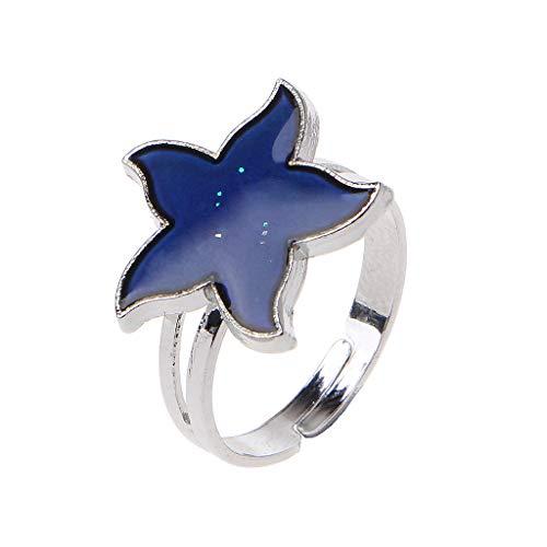 LDA Get Fresh Cartoon Sea Starfish Mood Ring Temperature Emotion Feeling Rings for Women Kids Rhinestone Anklet