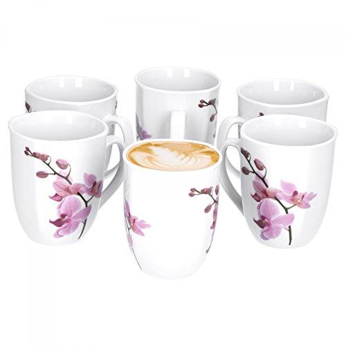 Van Well 6er Set Kaffeebecher Kyoto, 300 ml, 85 x 85 mm, Jumbo-Tasse, große Kaffeetasse, Porzellan-Becher XL, Blumen-Dekor Orchidee, rosa-rot, pink, Gastro