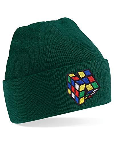 StitchPrint Bestickte Zauberwürfel Beanie Cap Magic Cube Speed Cube Puzzle Cube Cube Cube Geschenk Hut Gr. One size, flaschengrün