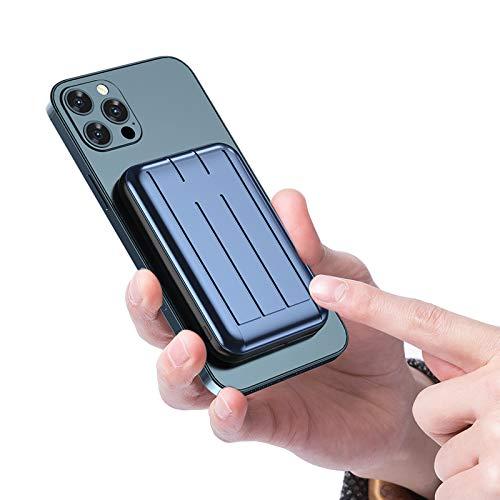 Cargador PortáTil InaláMbrico MagnéTico Mini mag-Safe 5000mah 15w con Pantalla LED Y USB C, BateríA Externa Adsorbible MagnéTica para iPhone 12 / Mini/Pro/Pro MAX (Azul)