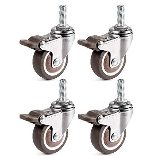 I3C 4 x drehbare Rollen mit Gewinde, geräuschlose Lenkrollen mit Bremse, geeignet für den Ersatz von Rollen für Schränke, Tische und Regale.