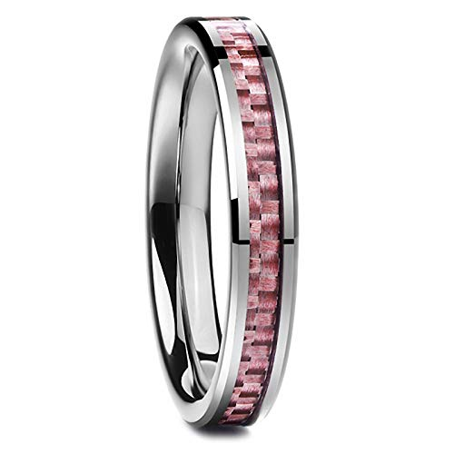 N-A 4 mm Polished Inlaid Pink Carbon Fiber Man Finger Rings Wedding Tungsten Carbide Ring for Male Jewelry As The Picture 7