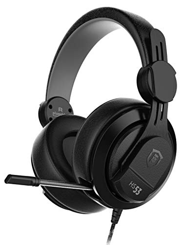 Plugable Performance Onyx Gaming Headset with Retractable Microphone, Noise Isolation, Memory Foam Ear Cushions, Compatible with Windows, Linux, macOS, Xbox, Playstation 4, and Switch