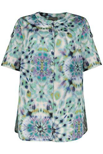 Ulla Popken Damen große Größen Bluse, Satin mit Batik-Design, Halbarm, Selection vergissmeinnicht 46/48 747681 74-46+