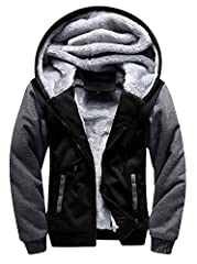 【Thick Material】Shell: 55% Cotton +45% Polyester;100% Polyester Fleece lined including the sleeves 【Heavyweight Hoodie】Sherpa lined hoodie for men, blend fleece block out cold and chill,best for athletic fit 【Raglan Hoodie】Men's hoodies full zip desi...