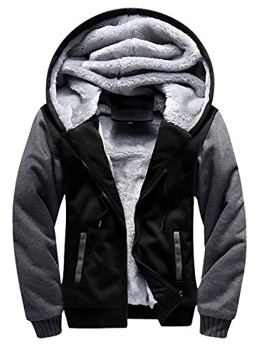 GEEK LIGHTING Men's Zip Up Fleece Hoodies Winter Heavyweight Sherpa Lined Thermal Jackets (Black/Gray, XX-Large)