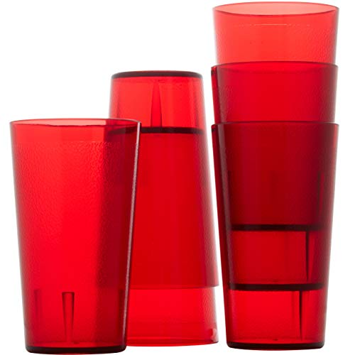 Restaurant Grade BPA Free 12oz Red Plastic Cup 6 pk Break Resistant Drinking Glasses Are Reusable Stackable Shatterproof Tumblers Great Drink Cups for Cafe and Catering Supplies