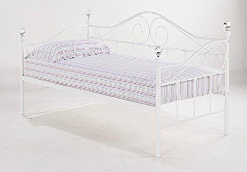 LPD Furniture Day Bed, Metal, White, Euro Single (90 x 200 cm)