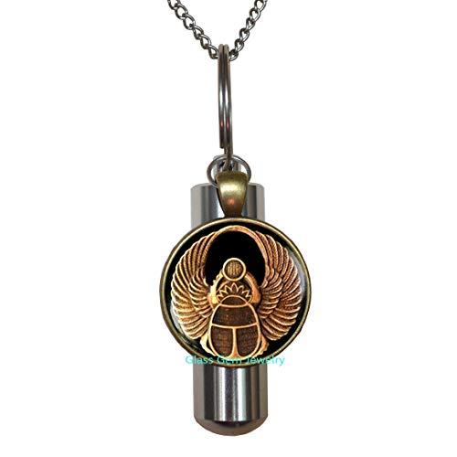 Glasso0gemo0Jewelry - Collar con URN de Scarab para hombre, diseño de Scarab Jewelry, joyería antigua egipcia, joyería egipcia, collar URN de cremación Scarab, escarabajo egipcio, collar URN de cremación para hombre Q0120