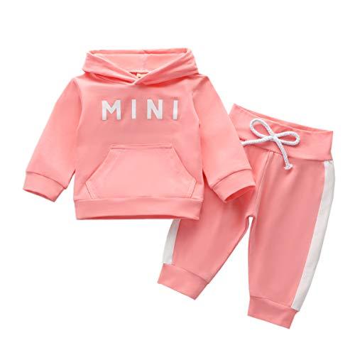 Bowanadacles Conjunto de ropa para bebé de 3 piezas, sudadera con capucha de manga larga + pantalones con estampado floral + diadema para el pelo de 0 a 24 meses Rosa-mini 6- 12 Meses
